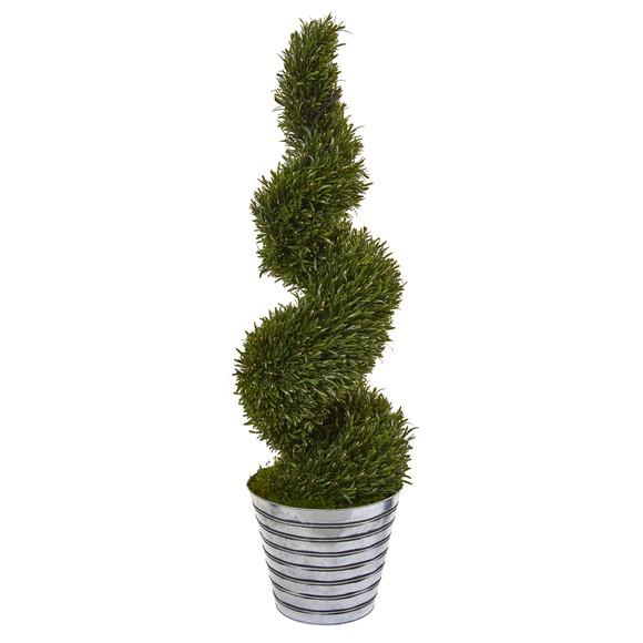 53 Rosemary Spiral Topiary Artificial Tree in Decorative Tin Bucket Indoor/Outdoor - SKU #9847
