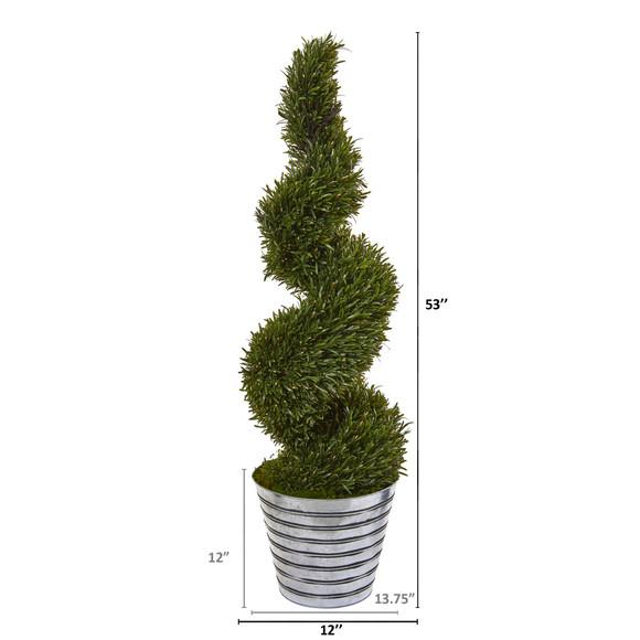 53 Rosemary Spiral Topiary Artificial Tree in Decorative Tin Bucket Indoor/Outdoor - SKU #9847 - 1