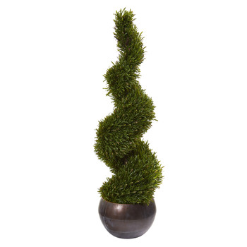 49 Rosemary Spiral Topiary Artificial Tree in Bowl Indoor/Outdoor - SKU #9849