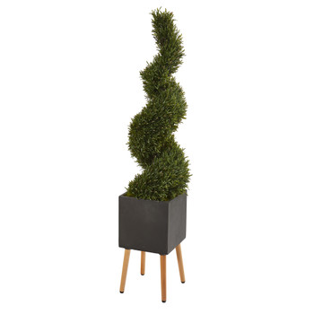 64 Rosemary Spiral Topiary Artificial Tree in Black Planter with Stand Indoor/Outdoor - SKU #9850