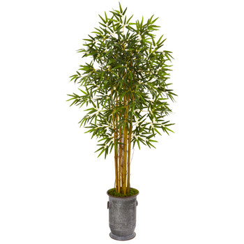 68 Bamboo Artificial Tree in Vintage Metal Planter - SKU #9851