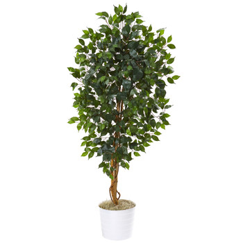 65 Ficus Artificial Tree in White Tin Planter - SKU #9858