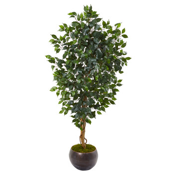 64 Ficus Artificial Tree in Metal Bowl - SKU #9859