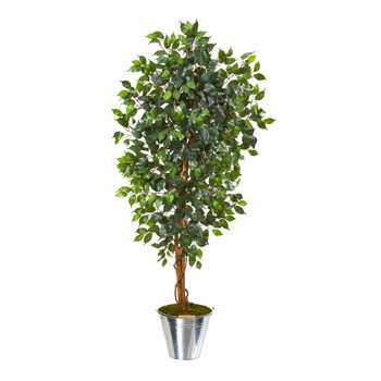 5 Ficus Artificial Tree in Tin Bucket - SKU #9860