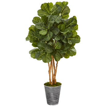 55 Fiddle Leaf Fig Artificial Tree in Decorative Tin Planter - SKU #9866