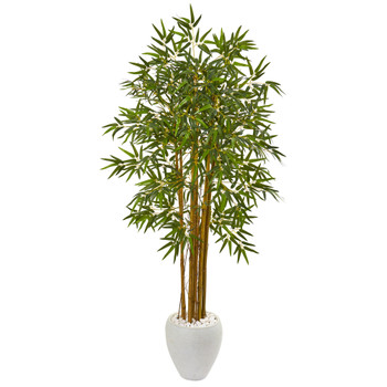 65 Multi Bambusa Bamboo Artificial Tree in White Planter - SKU #9868
