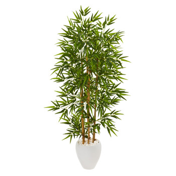 63 Bamboo Artificial Tree in White Planter - SKU #9871