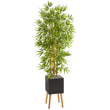 59 Bamboo Artificial Tree in Black Planter with Stand - SKU #9874