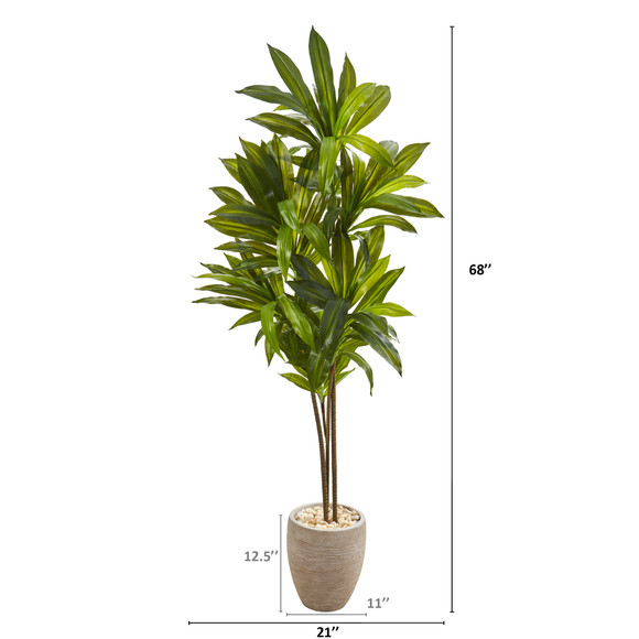 68 Dracaena Artificial Plant in Sand Colored Planter Real Touch - SKU #9875 - 1