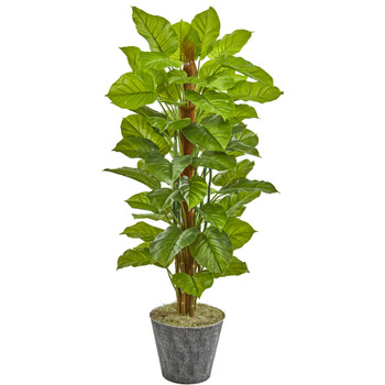 58 Philodendron Artificial Plant in Black Embossed Planter Real Touch - SKU #9876