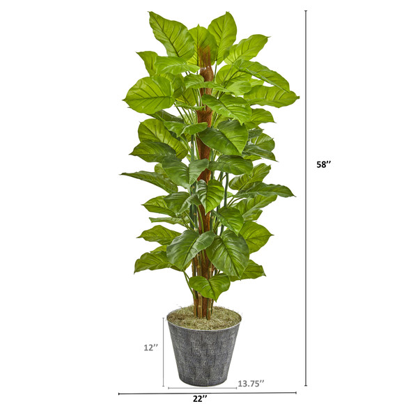 58 Philodendron Artificial Plant in Black Embossed Planter Real Touch - SKU #9876 - 1