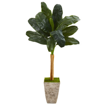 70 Banana Artificial Tree in Country White Planter - SKU #9880