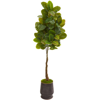 68 Rubber Leaf Artificial Tree in Ribbed Metal Planter Real Touch - SKU #9883