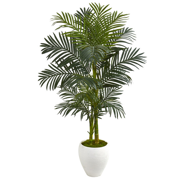 56 Golden Cane Artificial Palm Tree in White Planter - SKU #9899