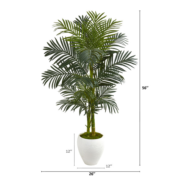 56 Golden Cane Artificial Palm Tree in White Planter - SKU #9899 - 1