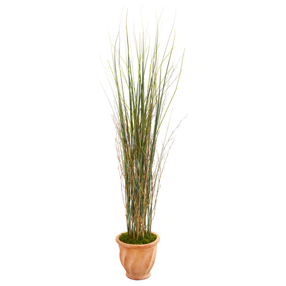 41 Grass and Bamboo Artificial Plant in Terra-cotta Planter - SKU #9901