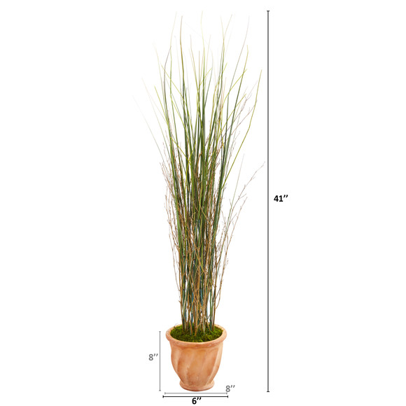 41 Grass and Bamboo Artificial Plant in Terra-cotta Planter - SKU #9901 - 1