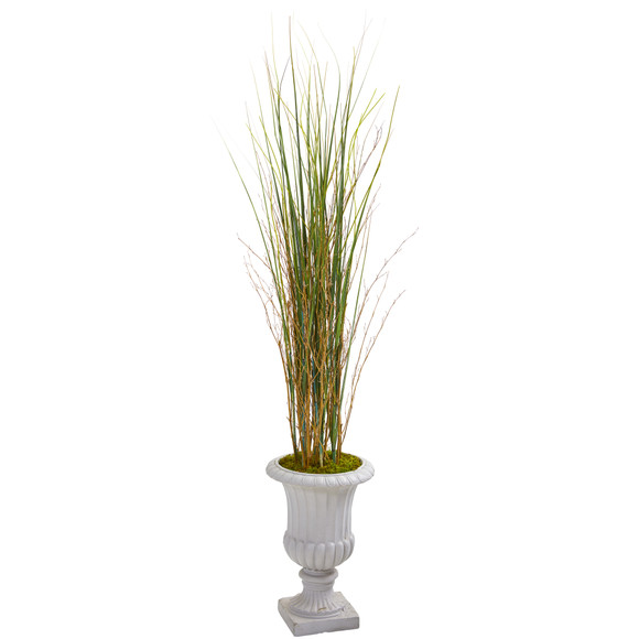 49 Grass and Bamboo Artificial Plant in Gray Urn - SKU #9902