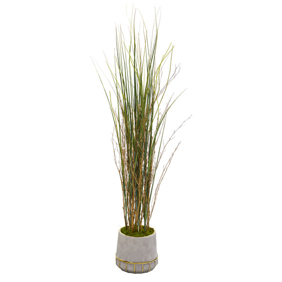 41 Grass and Bamboo Artificial Plant in Planter with Gold Trimming - SKU #9903