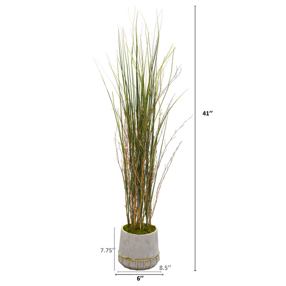41 Grass and Bamboo Artificial Plant in Planter with Gold Trimming - SKU #9903 - 1