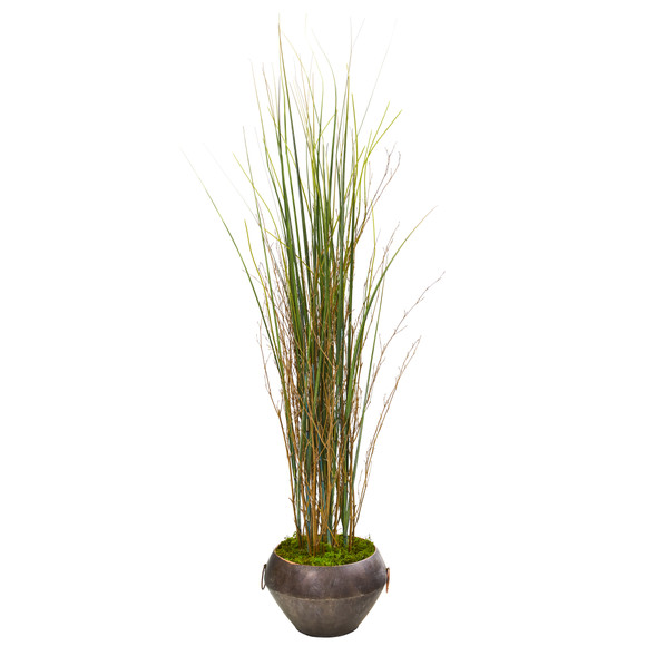 41 Grass and Bamboo Artificial Plant in Metal Bowl - SKU #9904