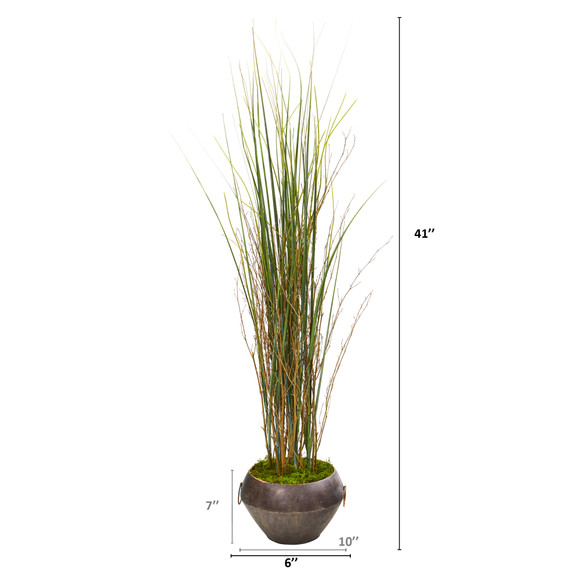 41 Grass and Bamboo Artificial Plant in Metal Bowl - SKU #9904 - 1