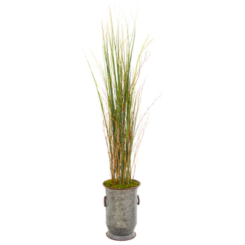 45 Grass and Bamboo Artificial Plant in Vintage Metal Planter - SKU #9905