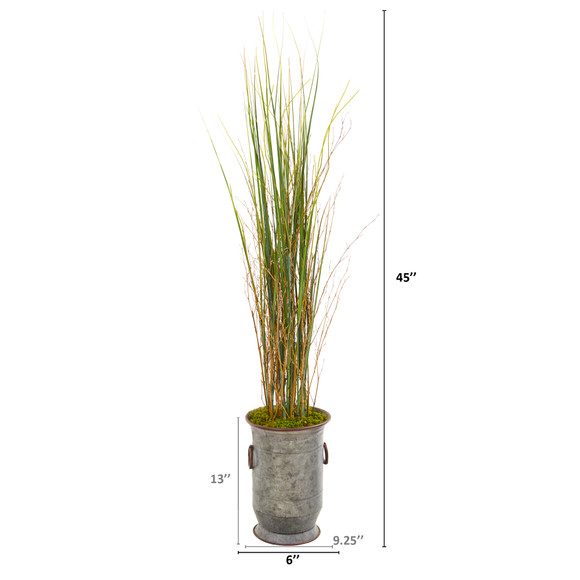 45 Grass and Bamboo Artificial Plant in Vintage Metal Planter - SKU #9905 - 1