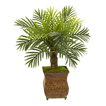 27 Robellini Palm Artificial Tree in Metal Planter - SKU #9907