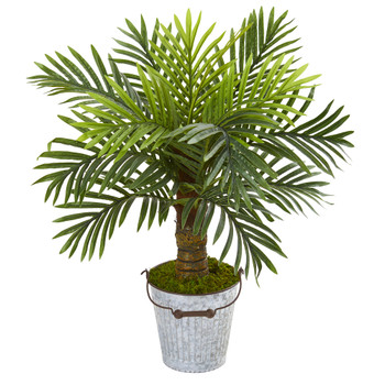 27 Robellini Palm Artificial Tree in White Washed Vintage Metal Pail - SKU #9909
