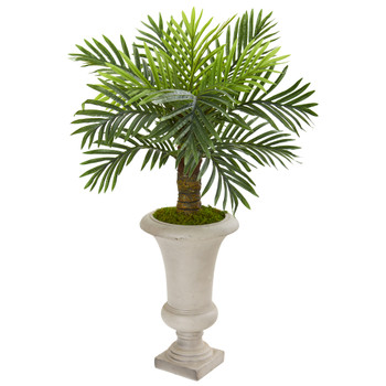 34 Robellini Palm Artificial Tree in Sand Colored Urn - SKU #9910