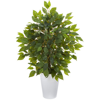 16 Mini Ficus Artificial Tree in White Planter - SKU #9912