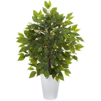 16 Mini Ficus Artificial Tree in White Planter - SKU #9912