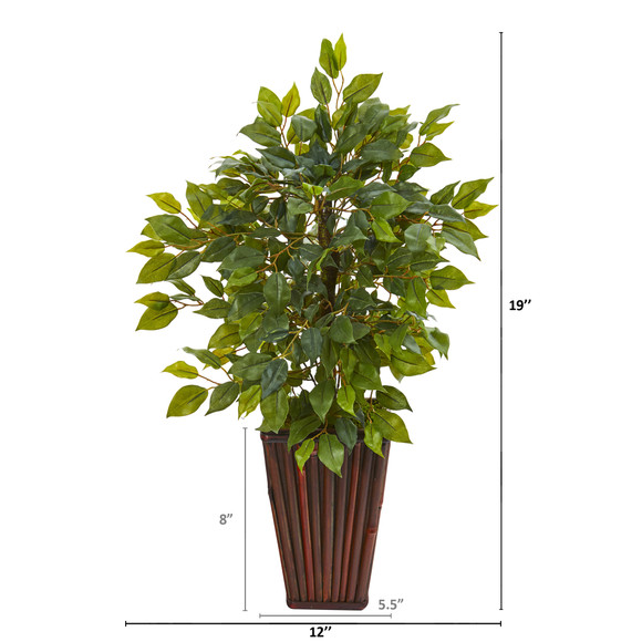 19 Mini Ficus Artificial Tree in Decorative Planter - SKU #9913 - 1