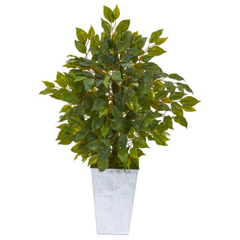 17 Mini Ficus Artificial Tree in Embossed White Planter - SKU #9916