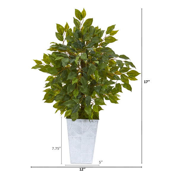 17 Mini Ficus Artificial Tree in Embossed White Planter - SKU #9916 - 1