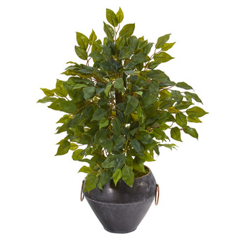 18 Mini Ficus Artificial Tree in Metal Bowl - SKU #9918