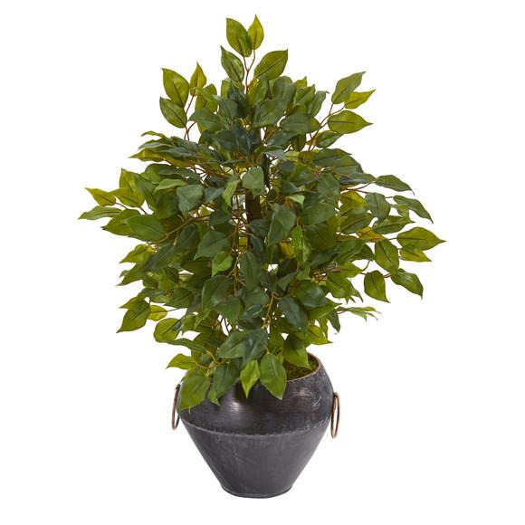 18 Mini Ficus Artificial Tree in Metal Bowl - SKU #9918