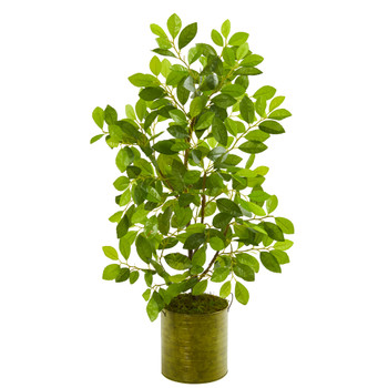 37 Mini Ficus Artificial Tree in Green Planter - SKU #9919
