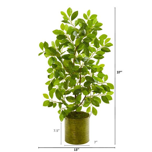37 Mini Ficus Artificial Tree in Green Planter - SKU #9919 - 1