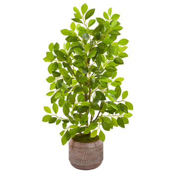 34 Ficus Artificial Tree in Stoneware Planter - SKU #9920