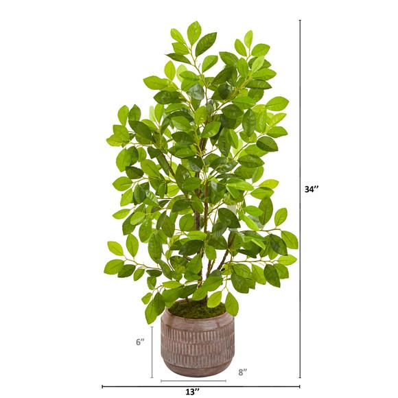 34 Ficus Artificial Tree in Stoneware Planter - SKU #9920 - 1