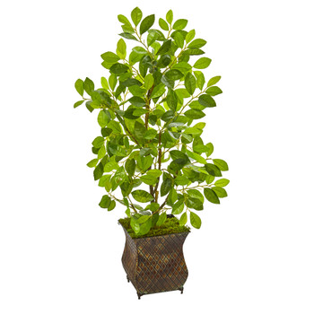 35 Ficus Artificial Tree in Decorative Metal Planter - SKU #9923