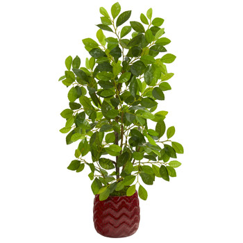 34 Ficus Artificial Tree in Decorative Red Planter - SKU #9924