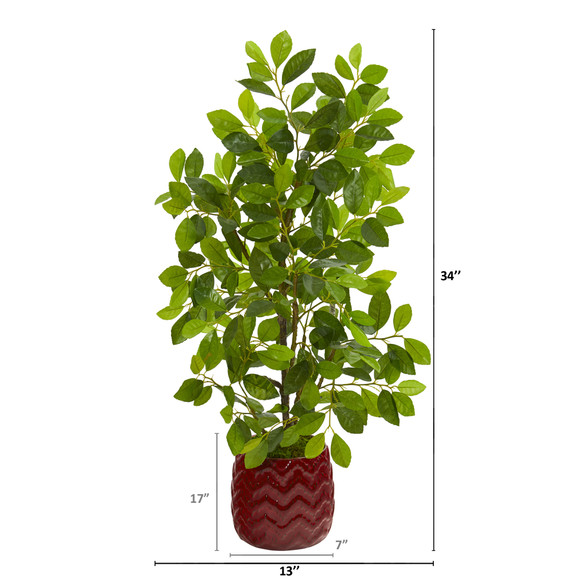 34 Ficus Artificial Tree in Decorative Red Planter - SKU #9924 - 1