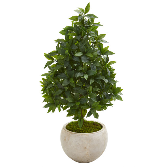 33 Sweet Bay Cone Topiary Artificial Tree in Sand Colored Planter - SKU #9925