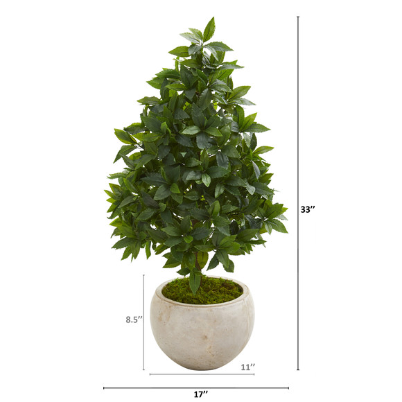 33 Sweet Bay Cone Topiary Artificial Tree in Sand Colored Planter - SKU #9925 - 1