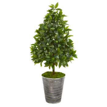 35 Sweet Bay Cone Topiary Artificial Tree in Tin Planter - SKU #9927