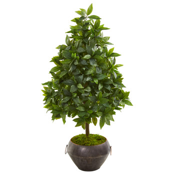 31 Sweet Bay Cone Topiary Artificial Tree in Metal Bowl - SKU #9928