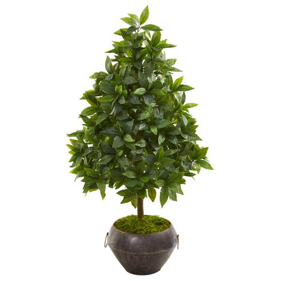 31 Sweet Bay Cone Topiary Artificial Tree in Metal Bowl - SKU #9928